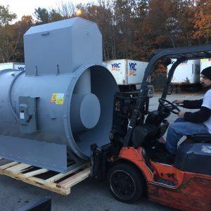 Forklift for commercial HVAC installation