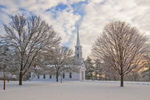 Winter chapel in Sudbury, MA an area served by Muirfield Mechanical